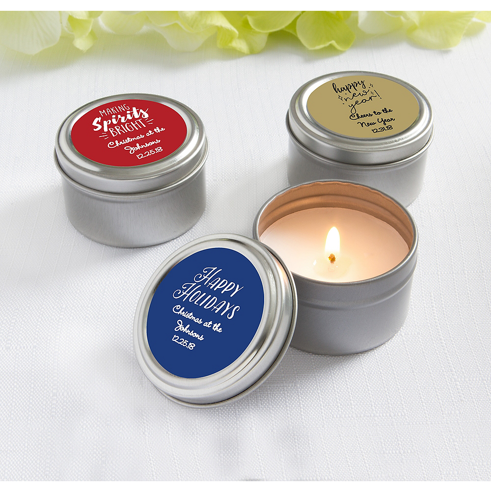Personalized Holiday Candle Tins (Printed Label) Image #1