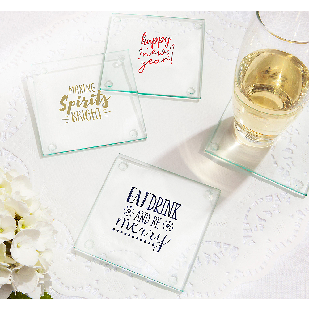 Personalized Holiday Glass Coasters (Printed Glass) Image #1
