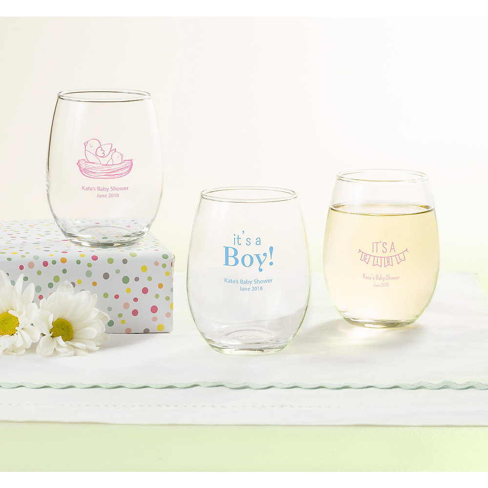 Personalized Baby Shower Stemless Wine Glasses 9oz (Printed Glass) Image #1