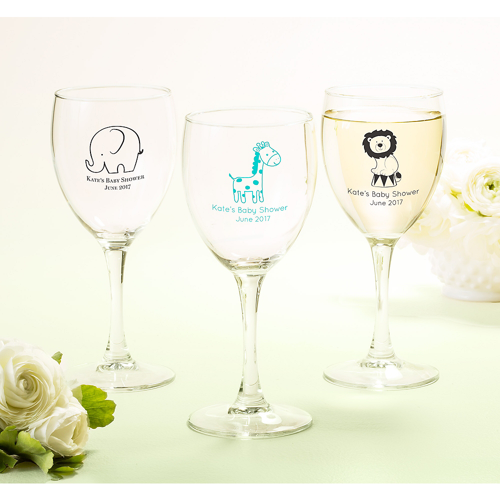 Personalized Baby Shower Wine Glasses (Printed Glass) Image #1