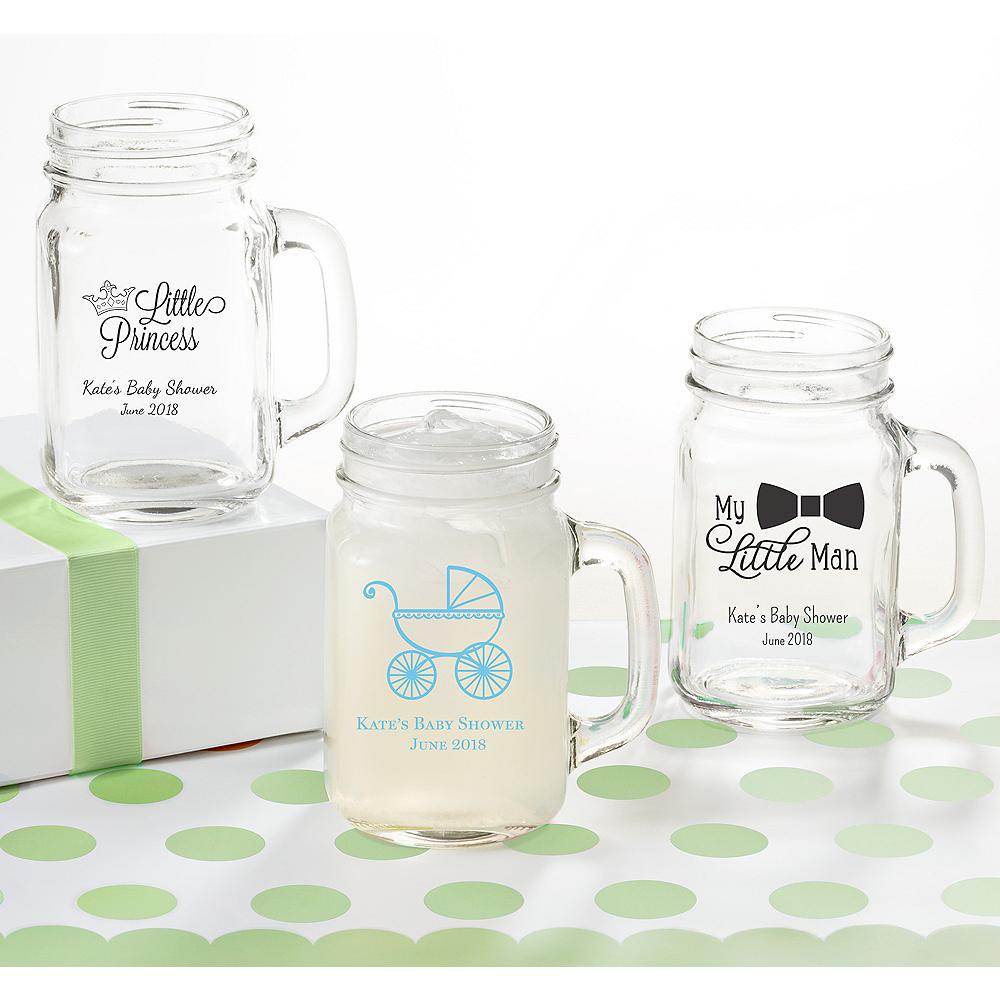 Personalized Baby Shower Mason Jar Mugs (Printed Glass) Image #1