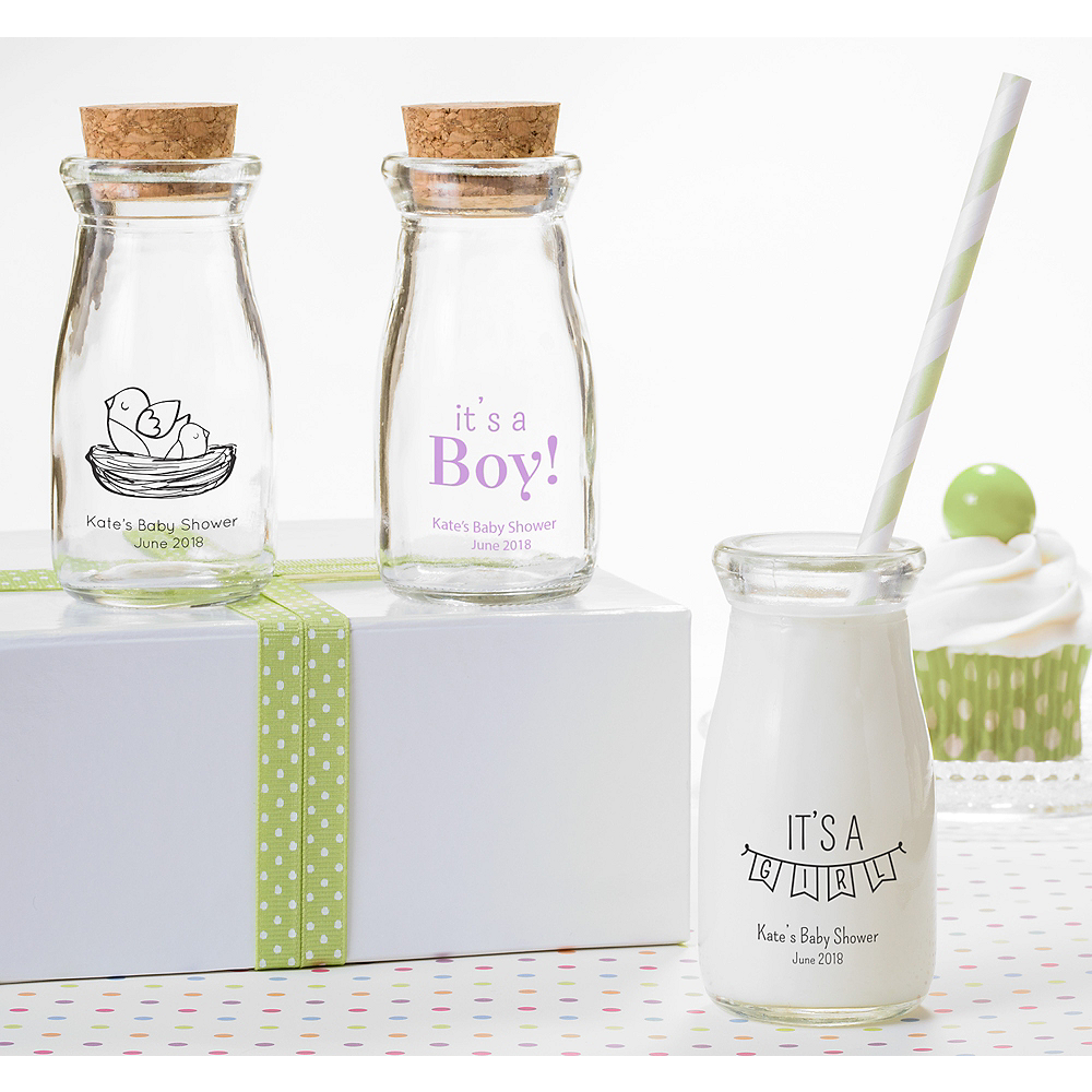 Personalized Baby Shower Glass Milk Bottles (Printed Glass) Image #1