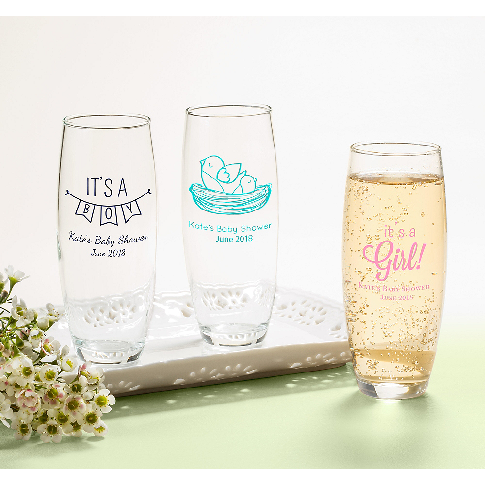 Personalized Baby Shower Stemless Champagne Flutes (Printed Glass) Image #1