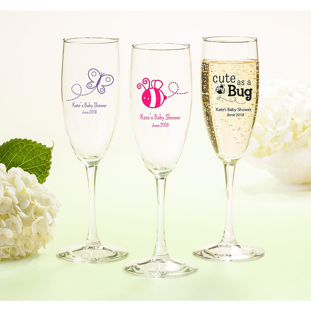 Nav Item for Personalized Baby Shower Champagne Flutes (Printed Glass) Image #1