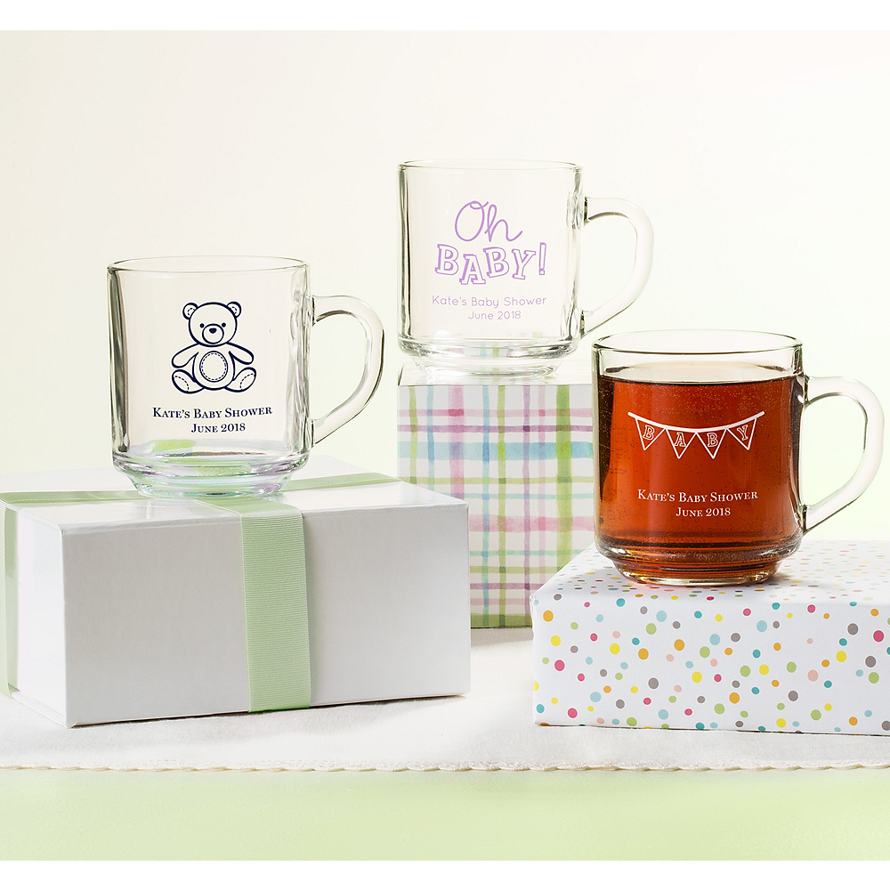 Personalized Baby Shower Glass Coffee Mugs (Printed Glass) Image #1