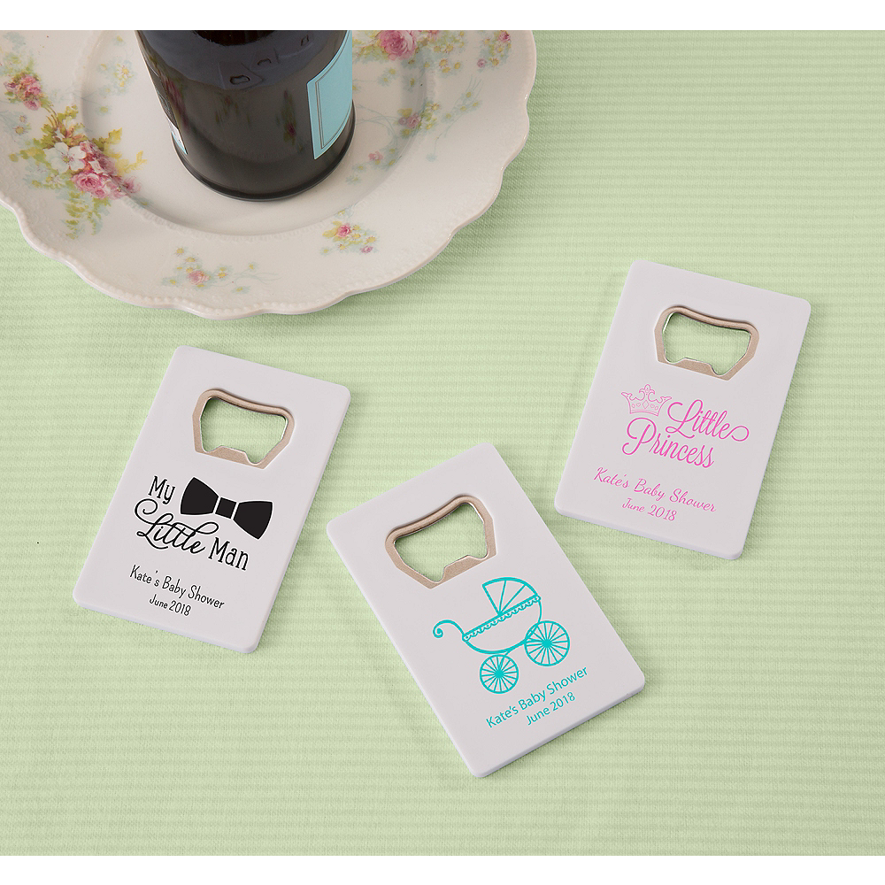 Personalized Baby Shower Credit Card Bottle Openers - White (Printed Plastic) Image #1
