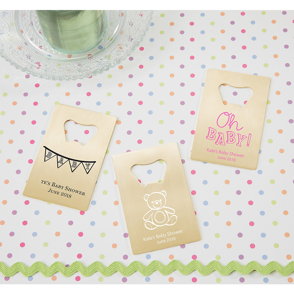 Personalized Baby Shower Credit Card Bottle Openers - Gold (Printed Metal) Image #1