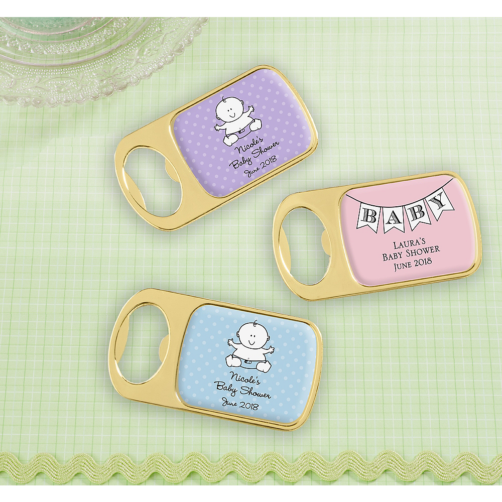 Personalized Baby Shower Bottle Openers - Gold (Printed Epoxy Label) Image #1