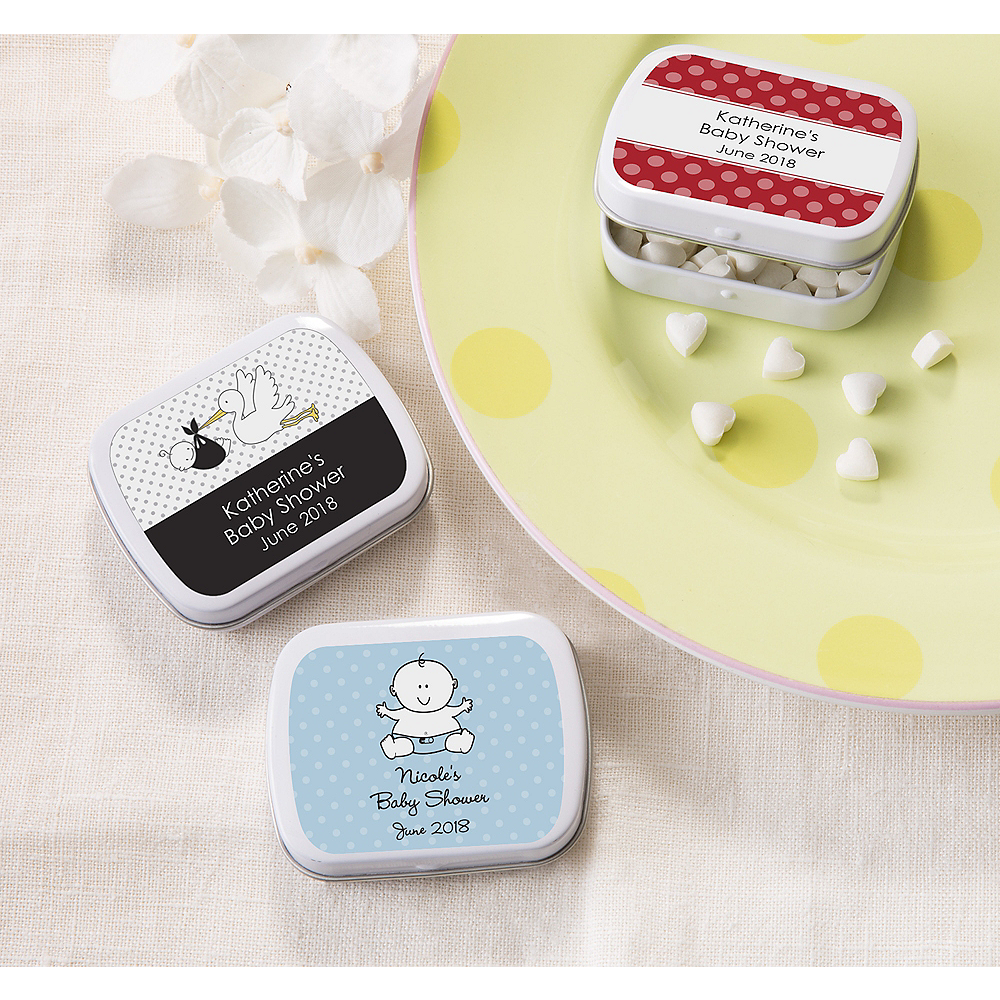 Personalized Baby Shower Mint Tins with Candy (Printed Label) Image #1