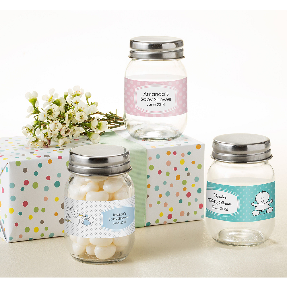Personalized Baby Shower Mini Glass Mason Jars (Printed Label) Image #1