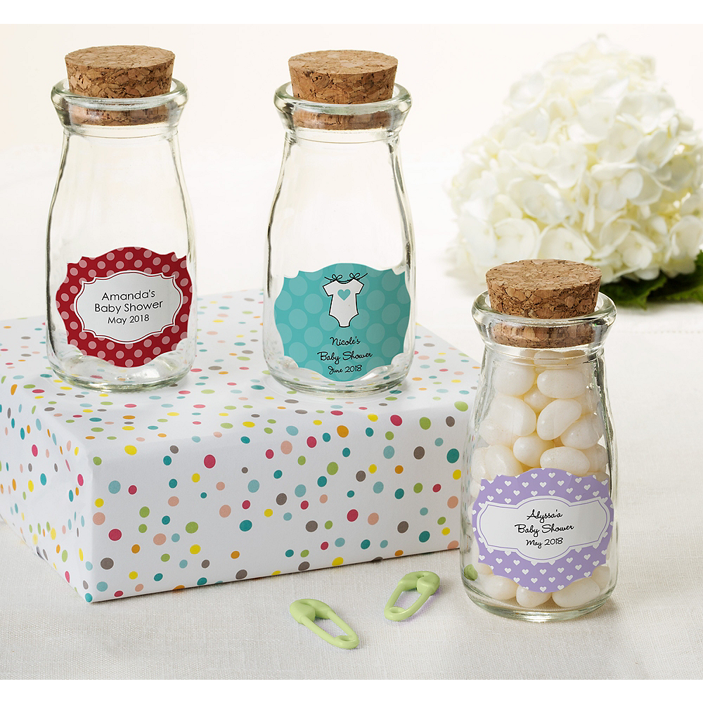 Personalized Baby Shower Glass Milk Bottles with Corks (Printed Label) Image #1