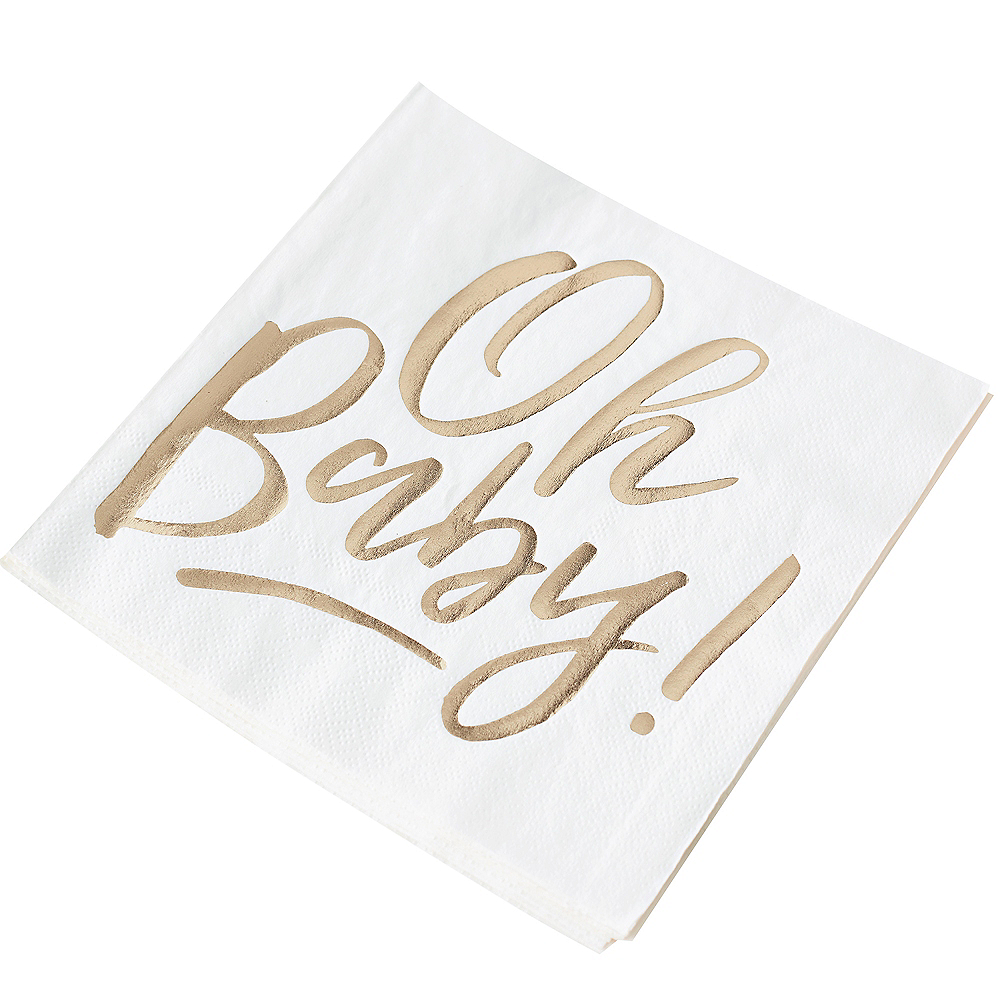 Ginger Ray Metallic Gold Oh Baby Lunch Napkins 16ct Image #2