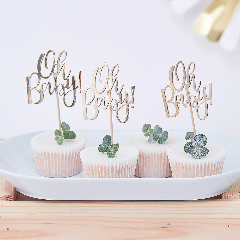 Ginger Ray Metallic Oh Baby Party Picks 12ct