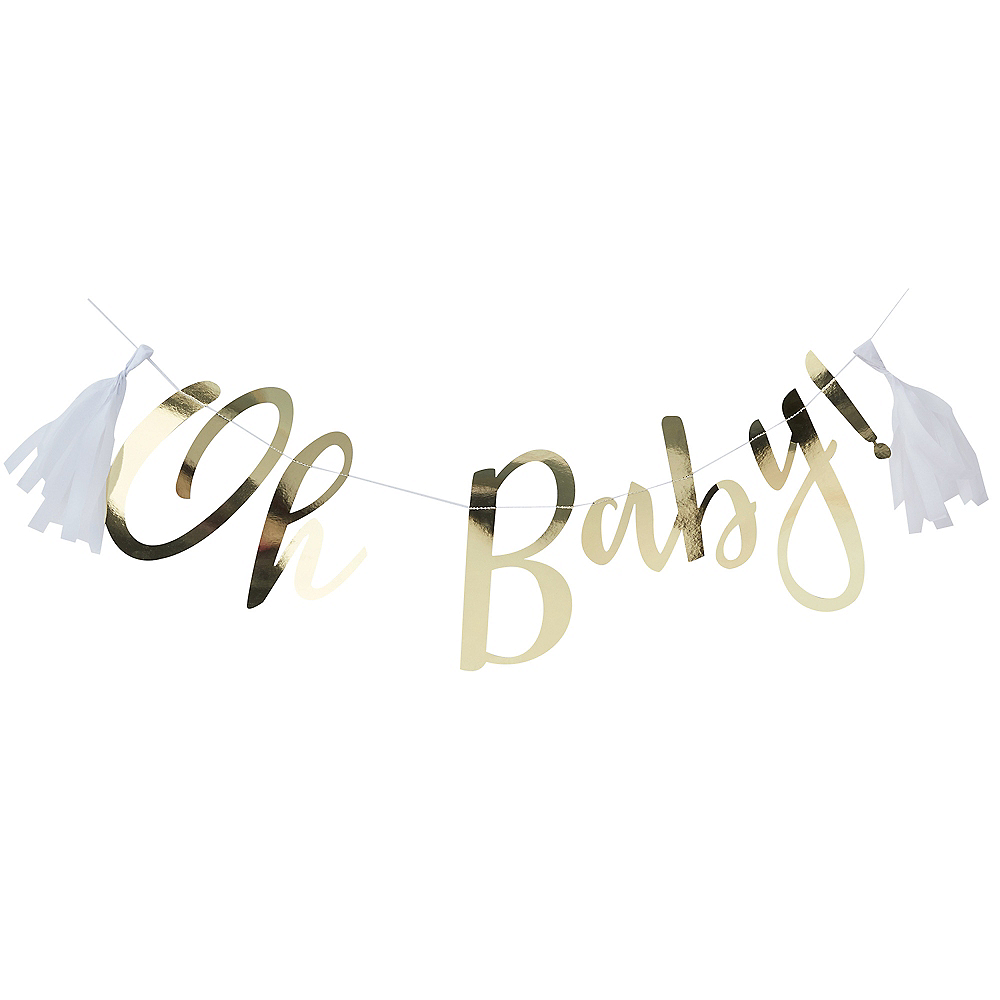 Ginger Ray Metallic Gold Oh Baby Letter Banner Image #2
