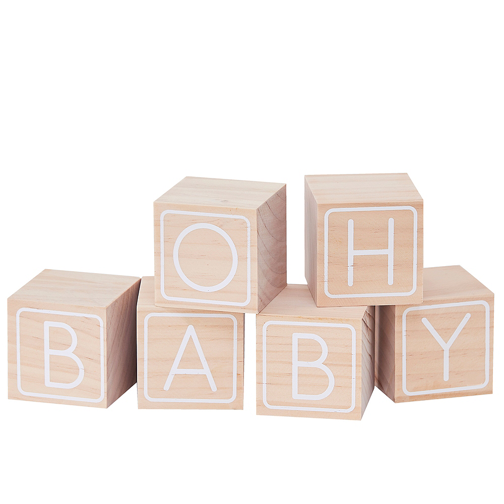 Ginger Ray Wooden Oh Baby Guest Book Blocks 6ct Image #2