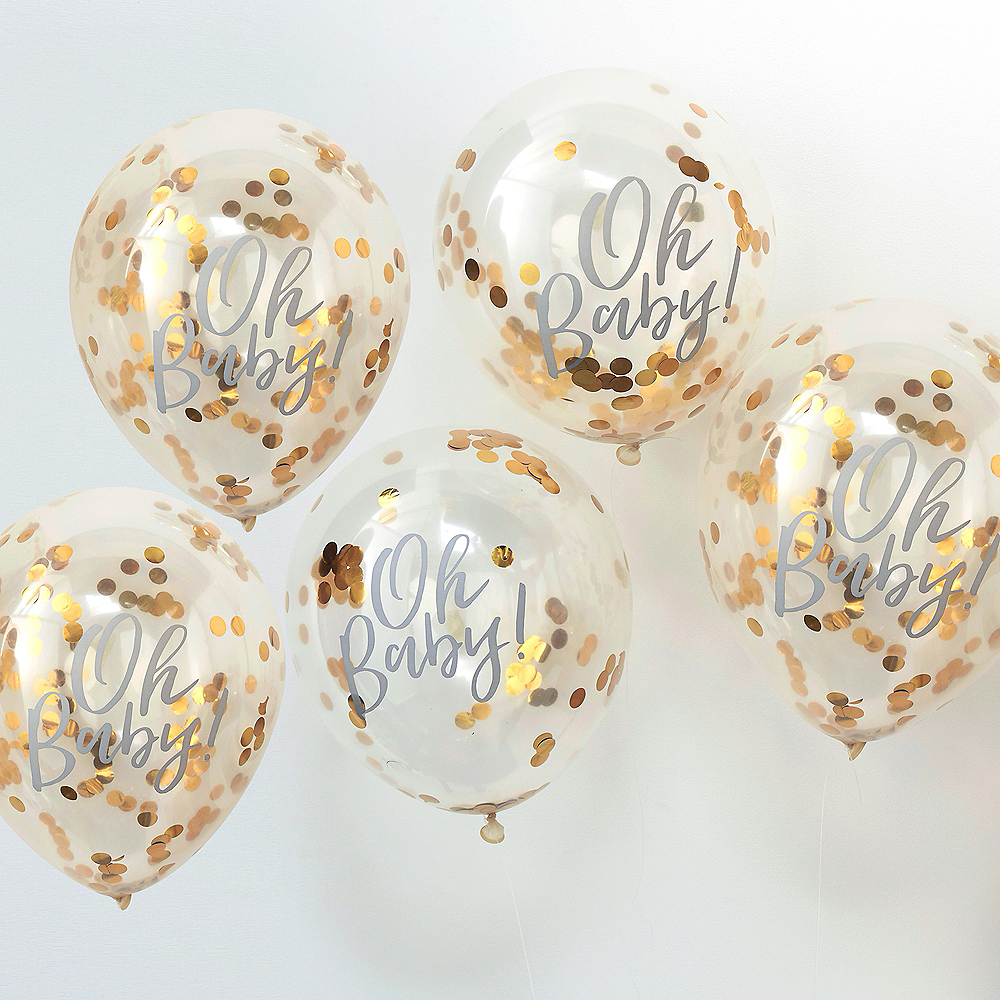 Ginger Ray Metallic Gold Oh Baby Confetti Balloons 5ct Image #1