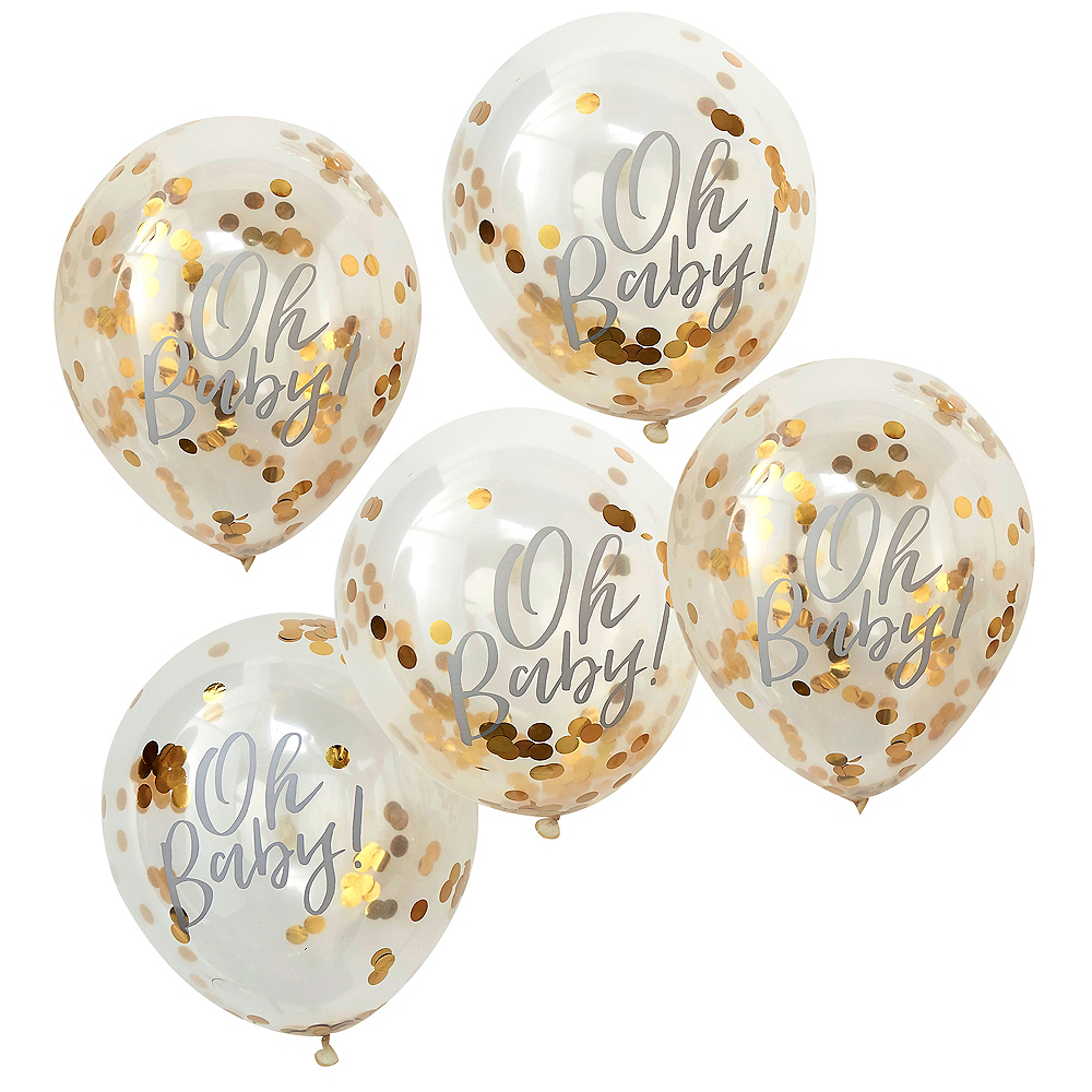 Ginger Ray Metallic Gold Oh Baby Confetti Balloons 5ct Image #2