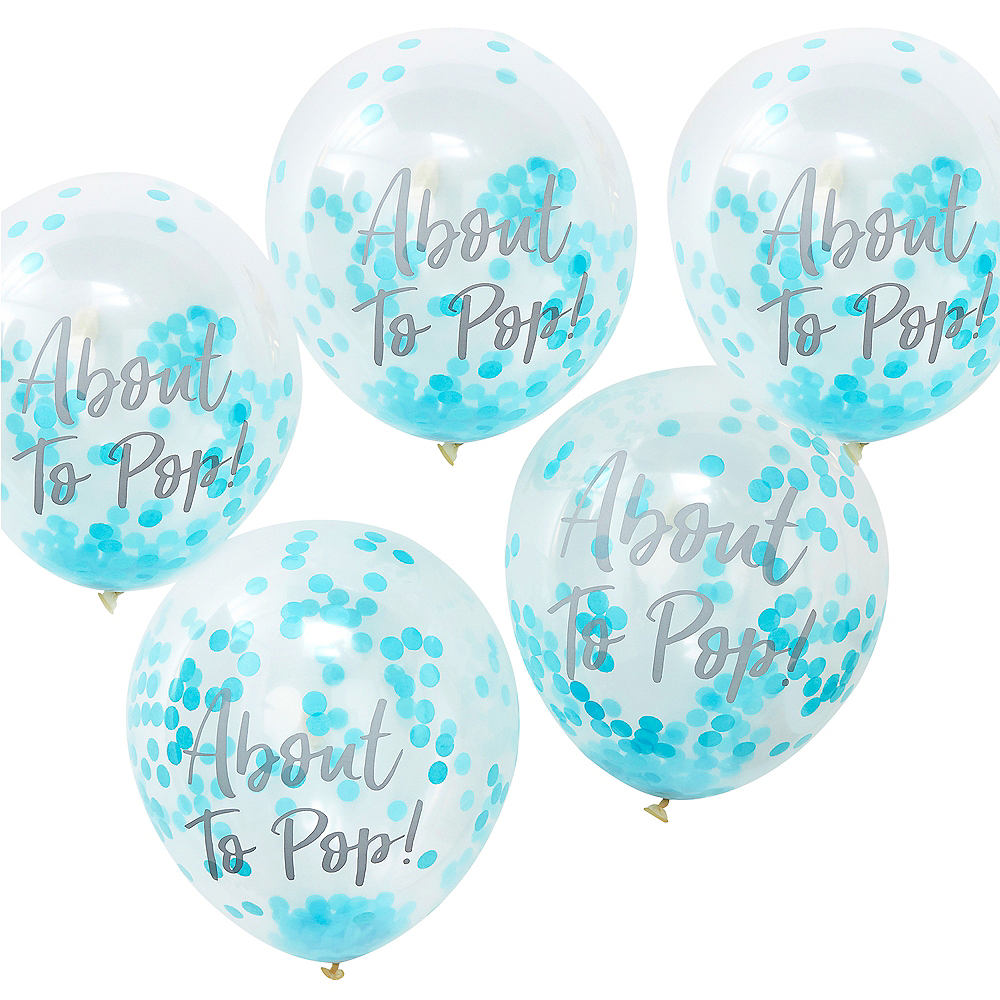 Ginger Ray About to Pop Blue Confetti Balloons 5ct Image #1