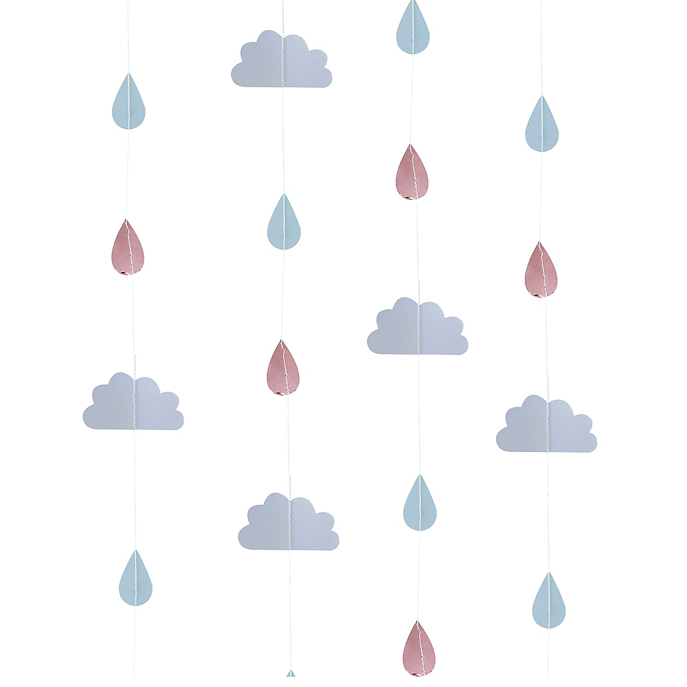 Ginger Ray Metallic Rose Gold Cloud and Raindrop Banners Image #1