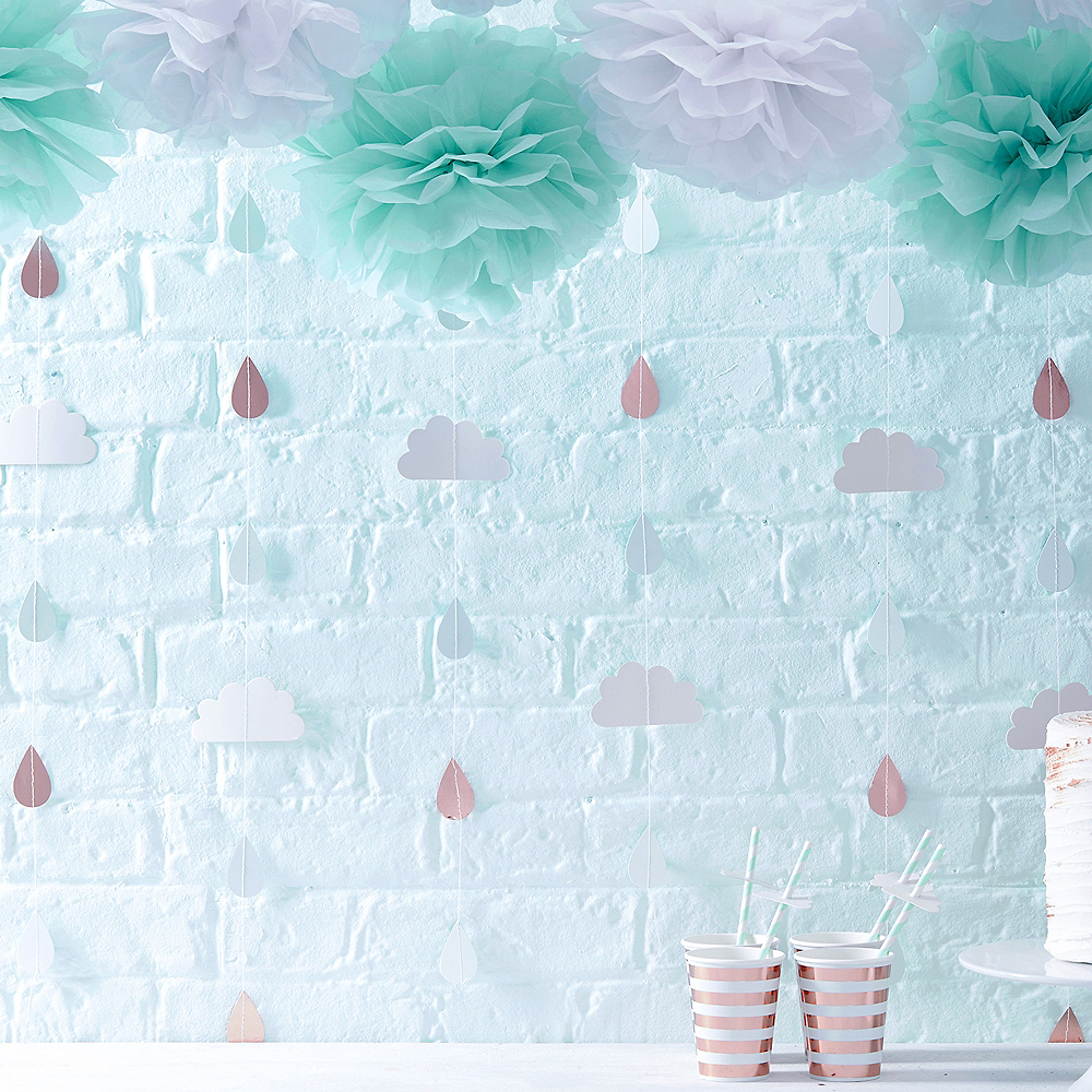 Ginger Ray Metallic Rose Gold Cloud and Raindrop Banners Image #2
