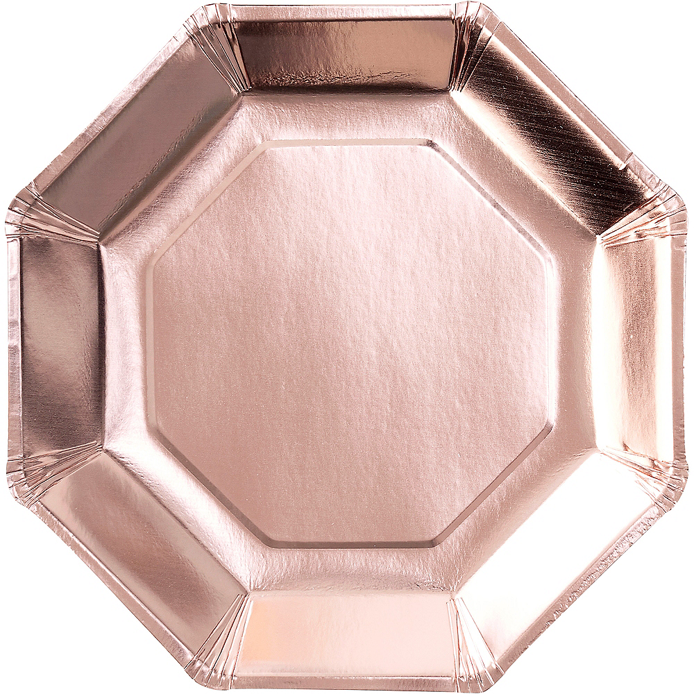 Ginger Ray Metallic Rose Gold Lunch Plates 8ct Image #2