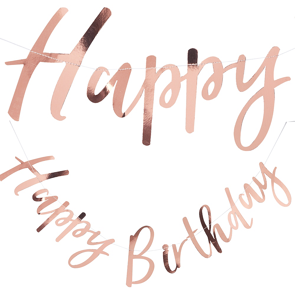 Ginger Ray Metallic Rose Gold Happy Birthday Letter Banner Image #1