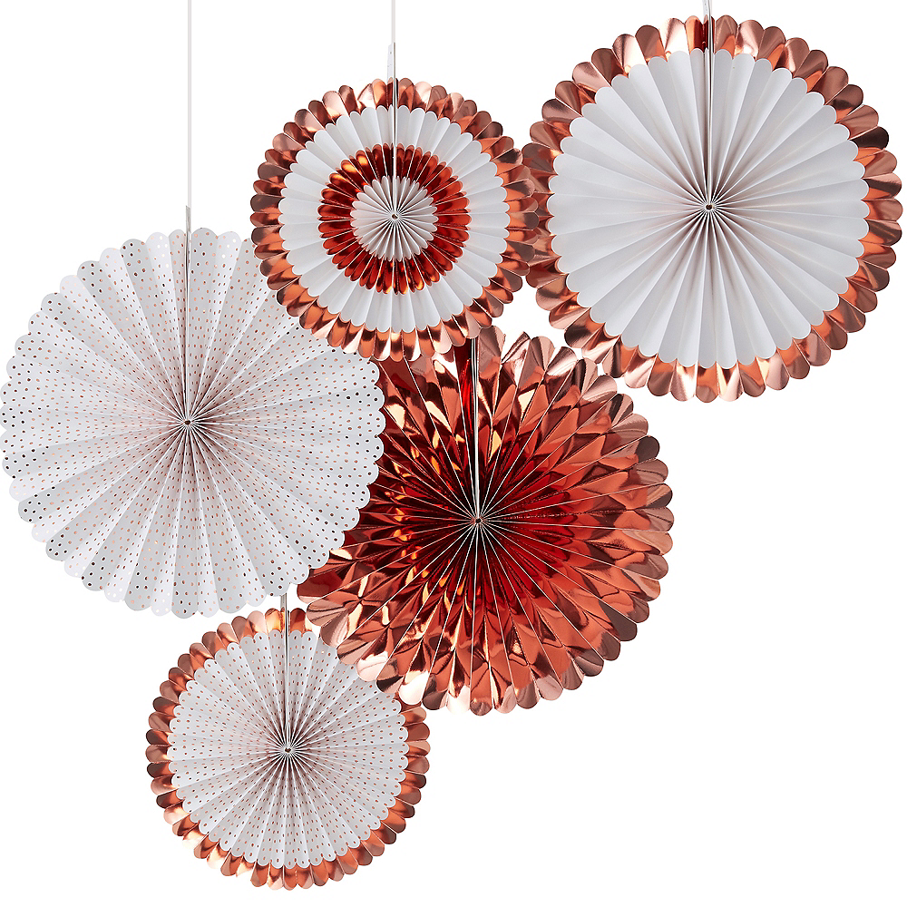 Ginger Ray Metallic Rose Gold Paper Fan Decorations 5ct Image #1