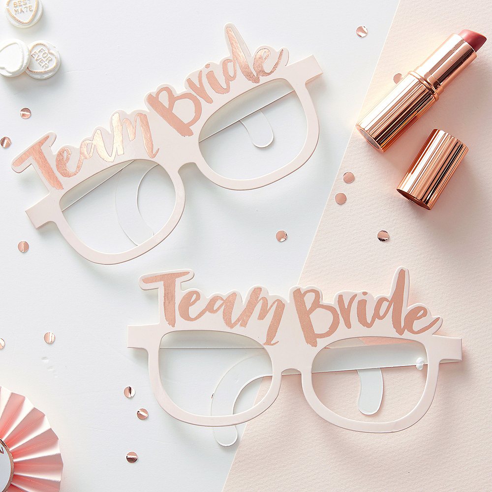 Ginger Ray Metallic Rose Gold Team Bride Glasses 8ct Image #1