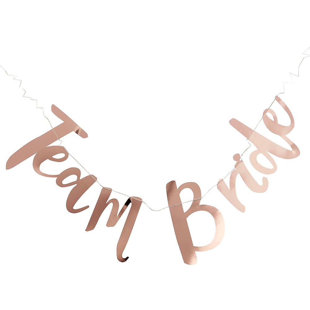Ginger Ray Metallic Rose Gold Team Bride Letter Banner Image #1