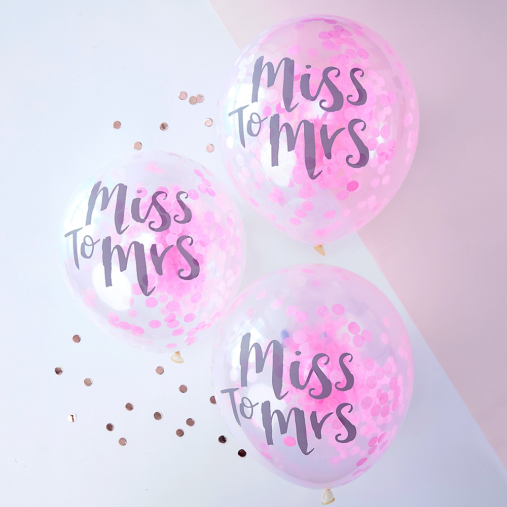 Ginger Ray Miss to Mrs. Pink Confetti Balloons 5ct Image #1