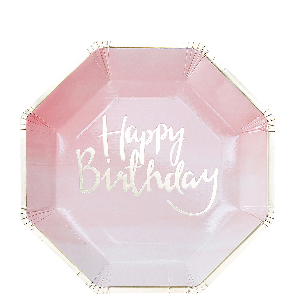 Ginger Ray Pink Happy Birthday Lunch Plates 8ct Image #1