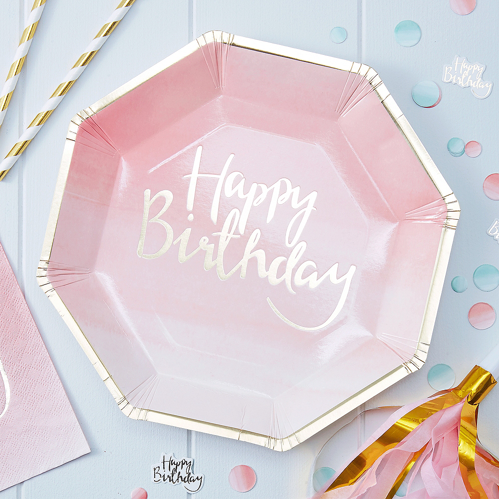 Ginger Ray Pink Happy Birthday Lunch Plates 8ct Image #2