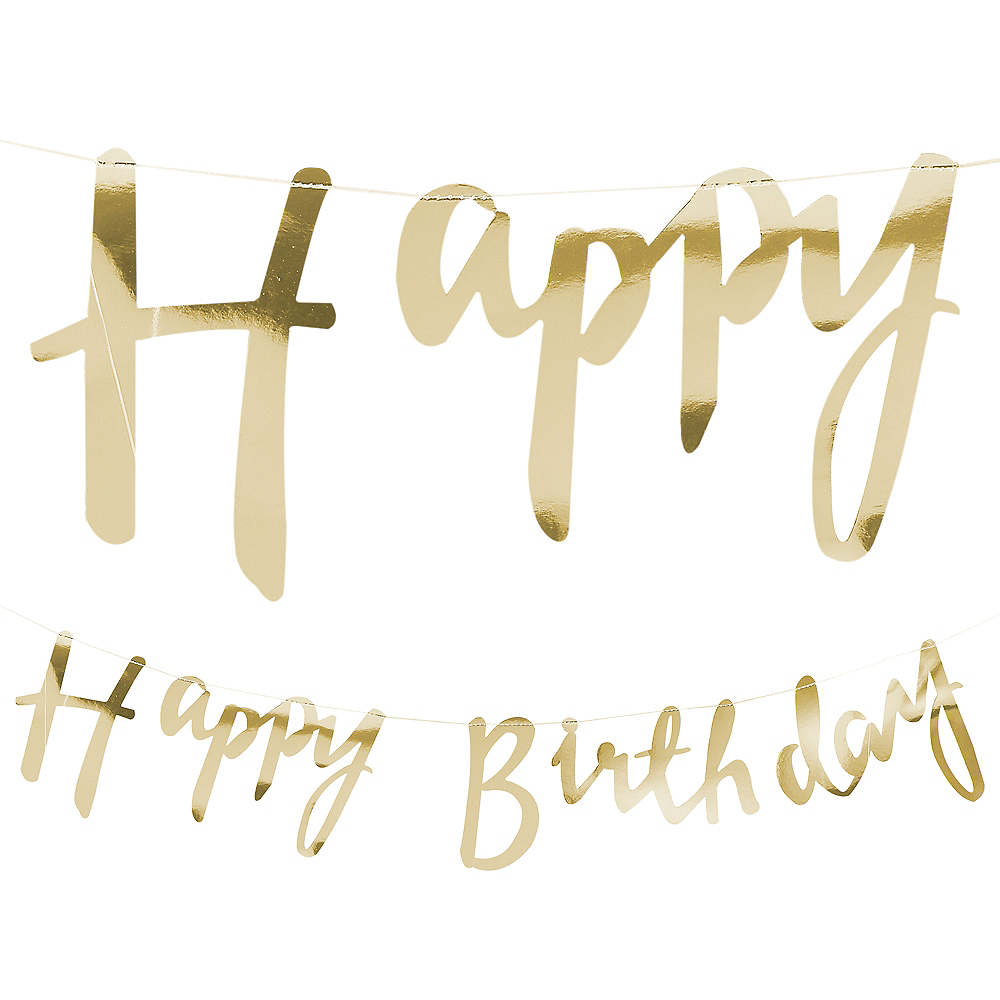 happy birthday letter metallic gold happy birthday letter banner 5ft 22083 | 815341