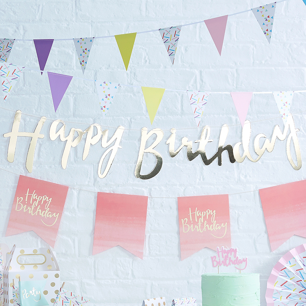 Ginger Ray Metallic Gold Happy Birthday Letter Banner Image #2
