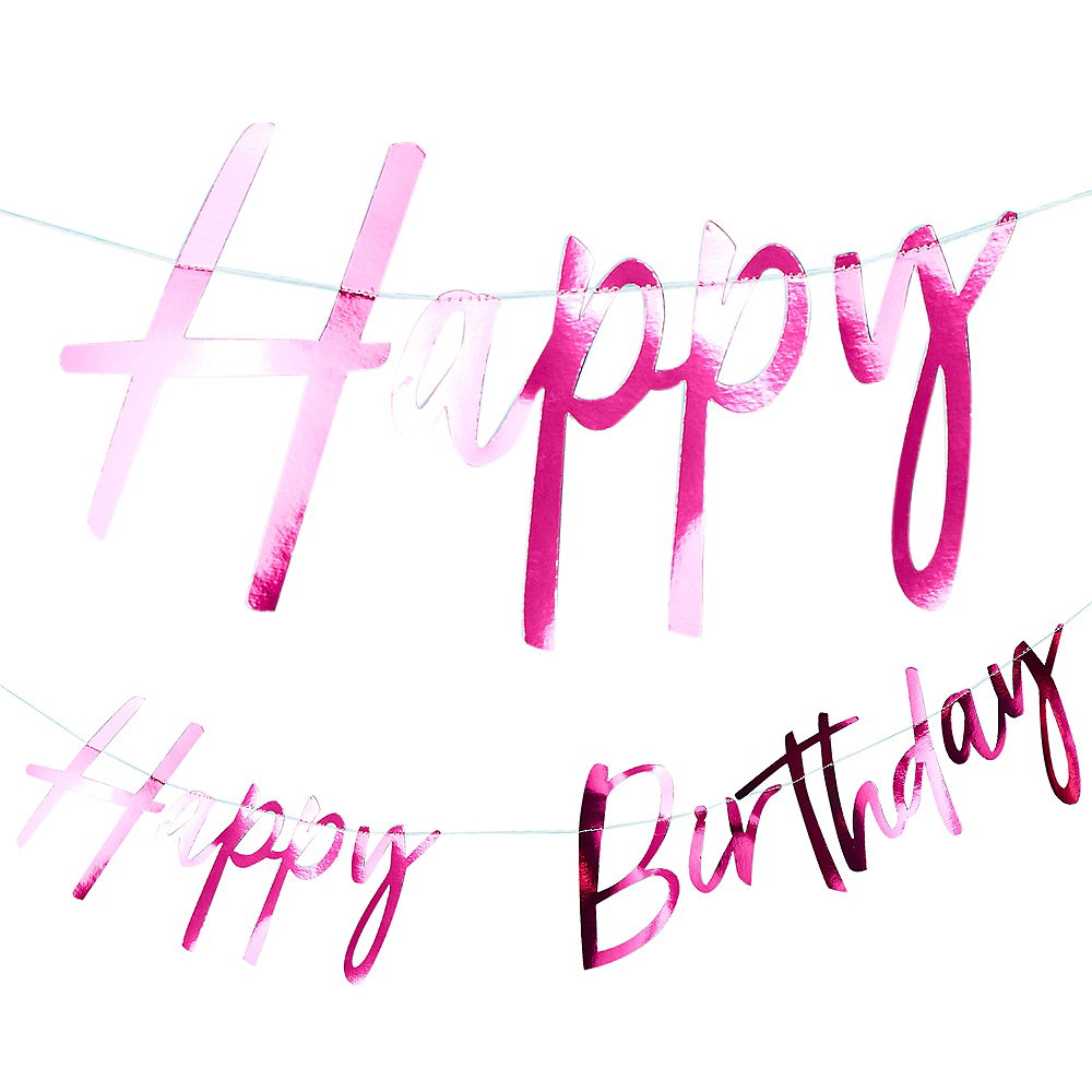 Ginger Ray Pink Metallic Happy Birthday Letter Banner Image #1