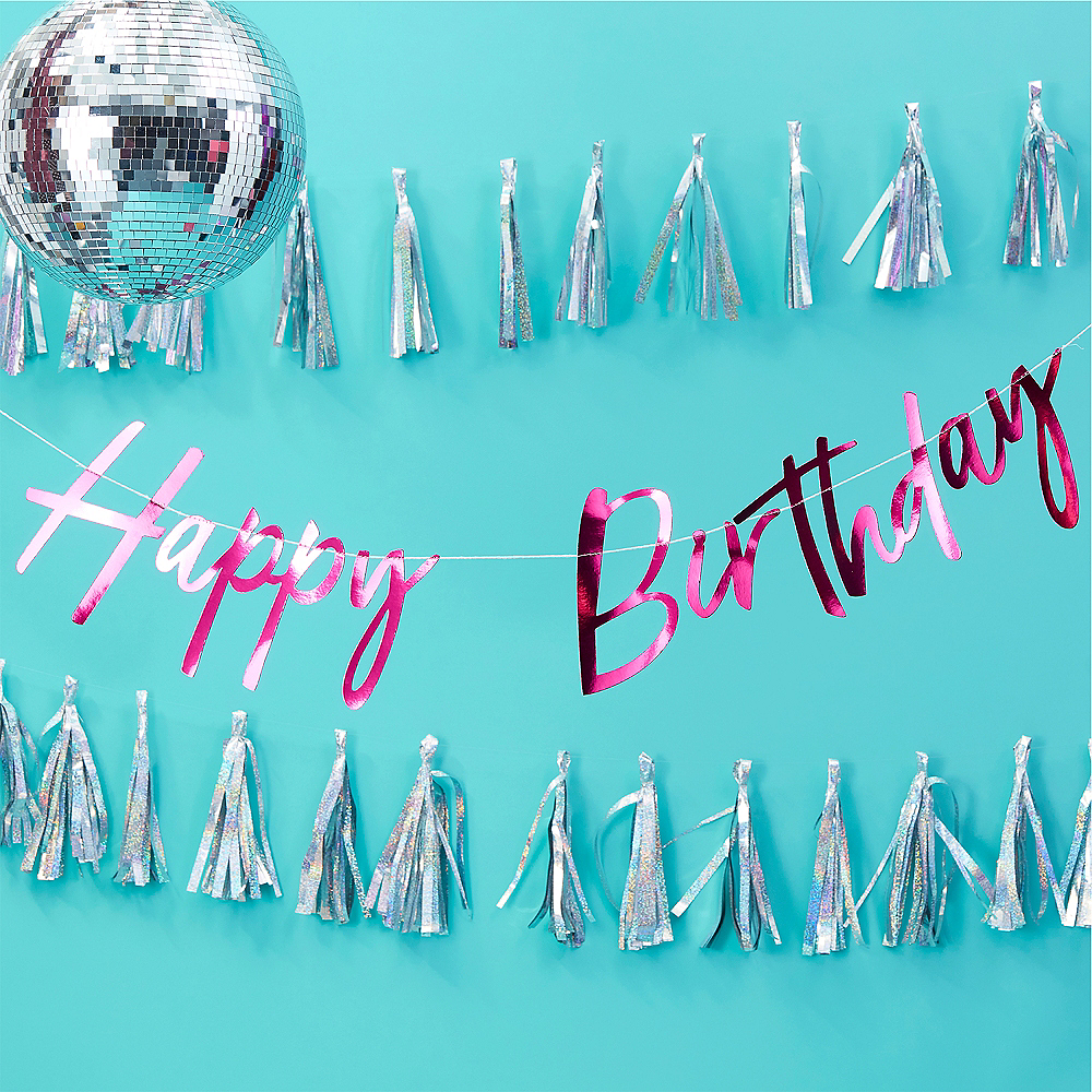Ginger Ray Pink Metallic Happy Birthday Letter Banner Image #2