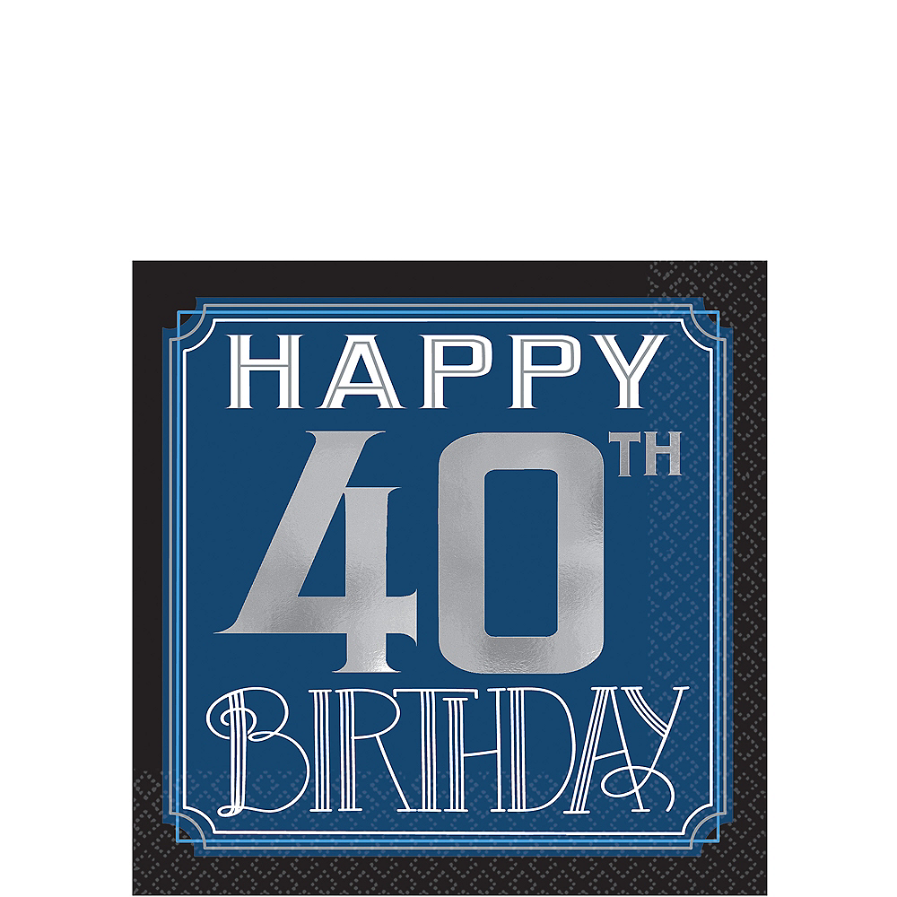 Vintage Happy Birthday 40th Birthday Beverage Napkins 16ct Image #1