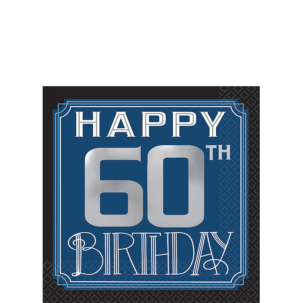 Vintage Happy Birthday 60th Birthday Beverage Napkins 16ct Image #1