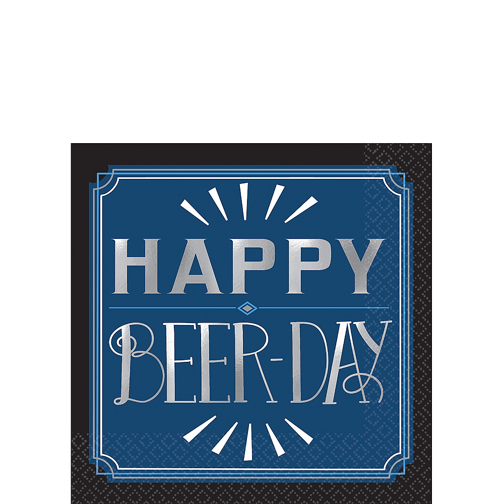 Vintage Happy Birthday Beer Day Beverage Napkins 16ct Image #1