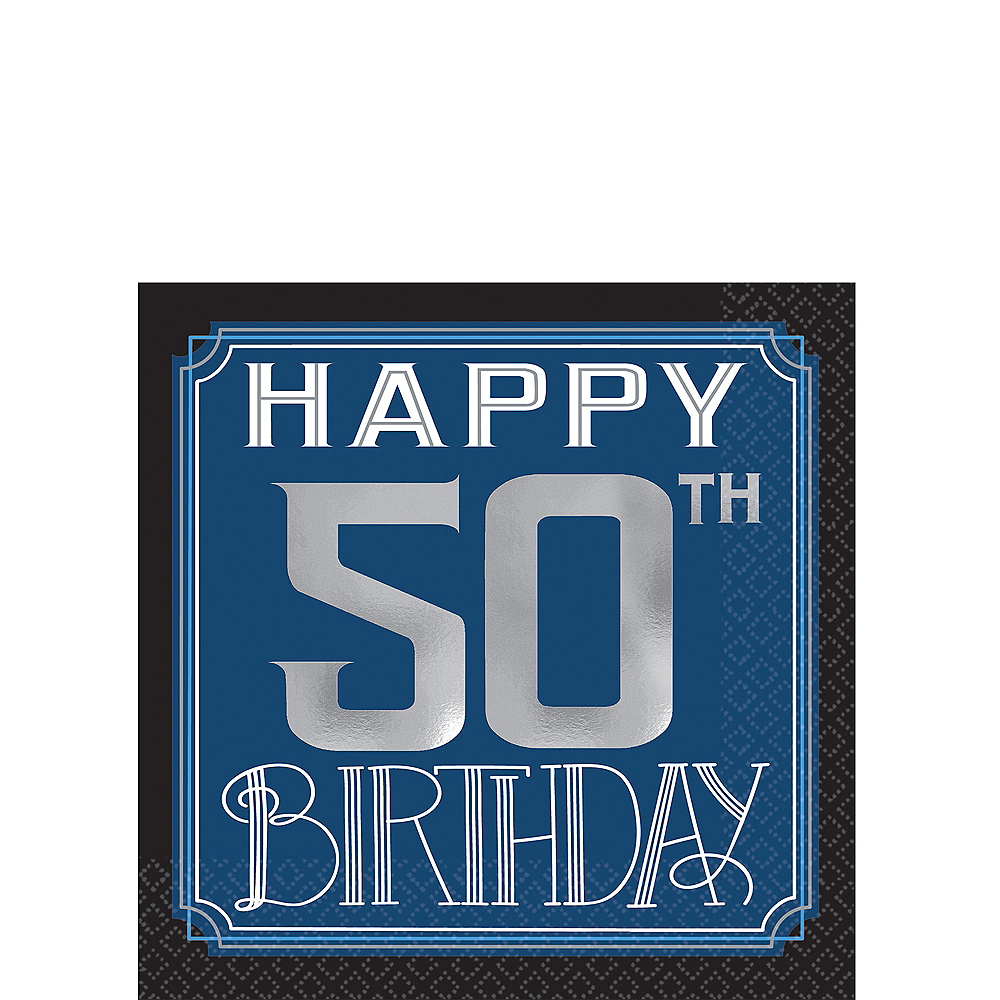Vintage Happy Birthday 50th Birthday Beverage Napkins 16ct Image #1