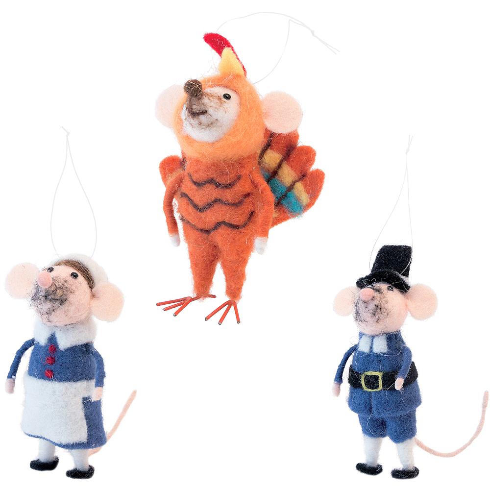 Wool Mice Thanksgiving Ornament Set 3ct Image #1