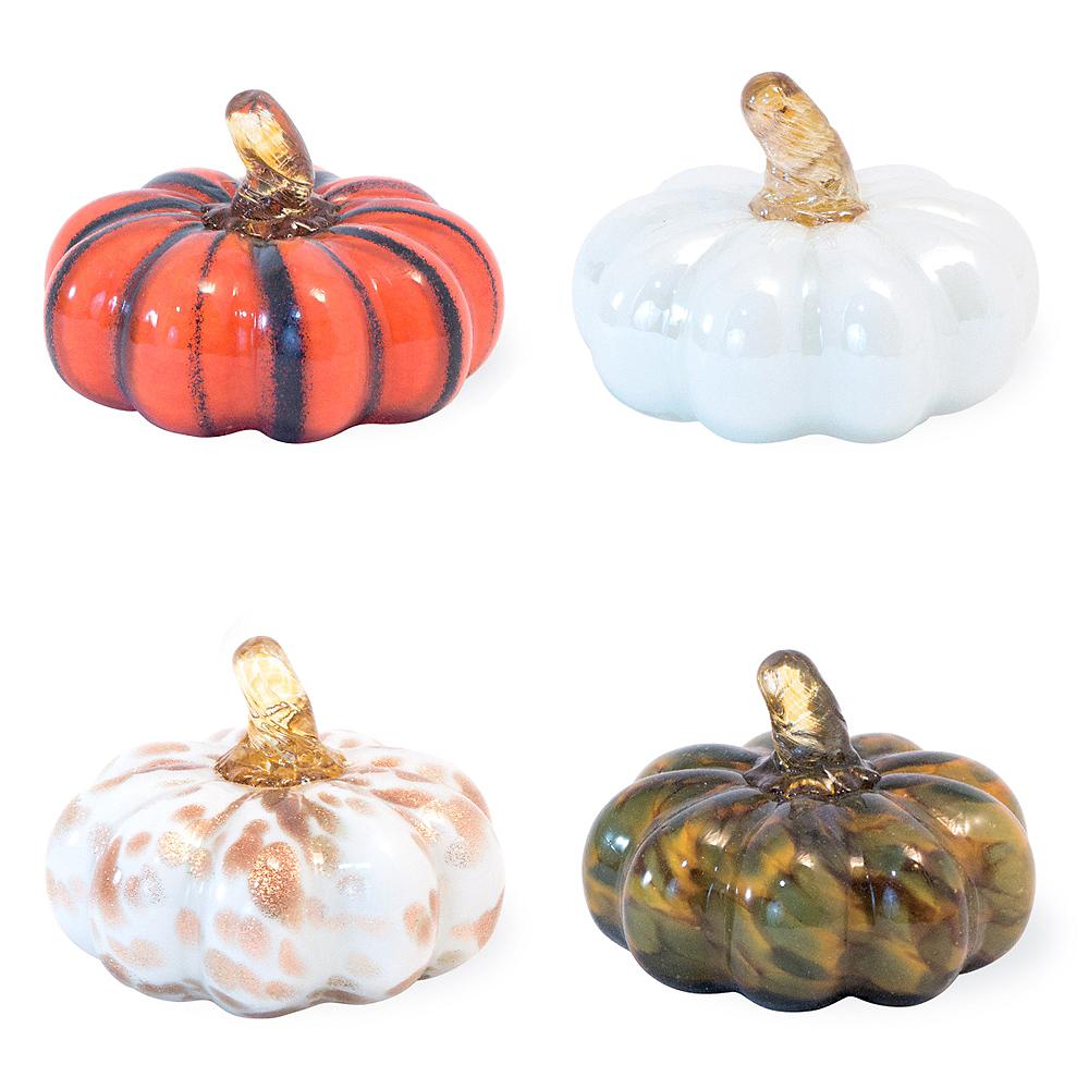 Assorted Glass Pumpkin Decorations 4ct Image #1