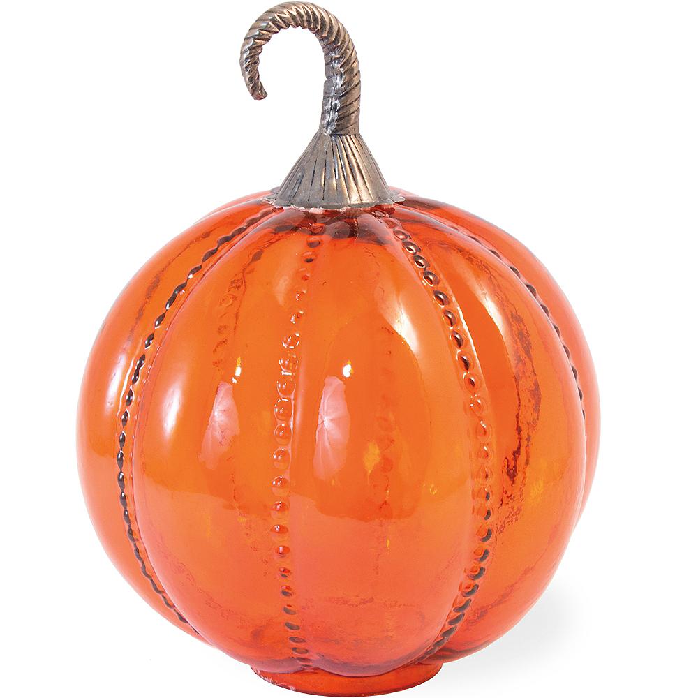 Orange Textured Glass Pumpkin Image #1