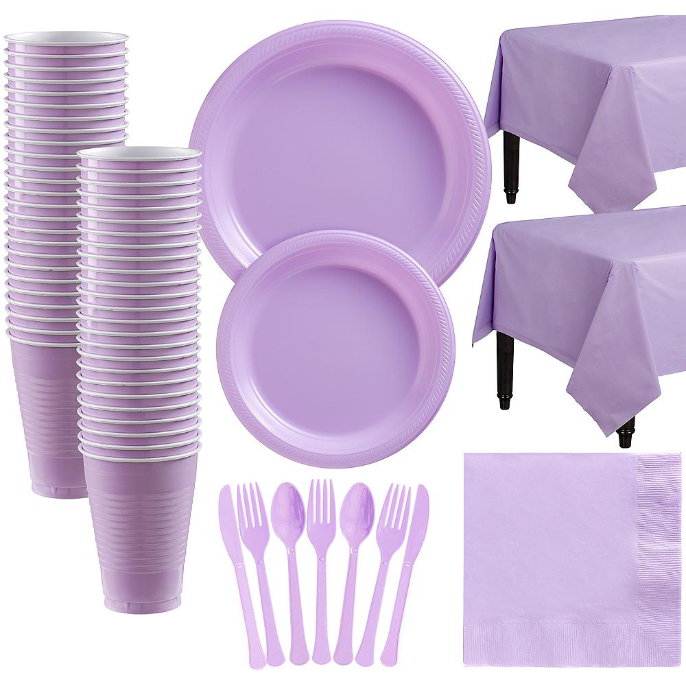 Lavender Plastic Tableware Kit for 50 Guests Image #1