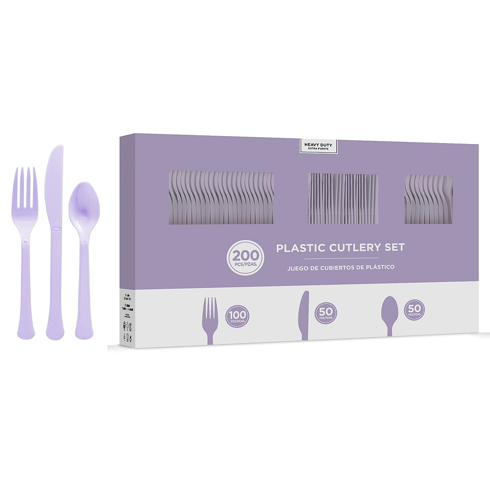 Lavender Plastic Tableware Kit for 50 Guests Image #7