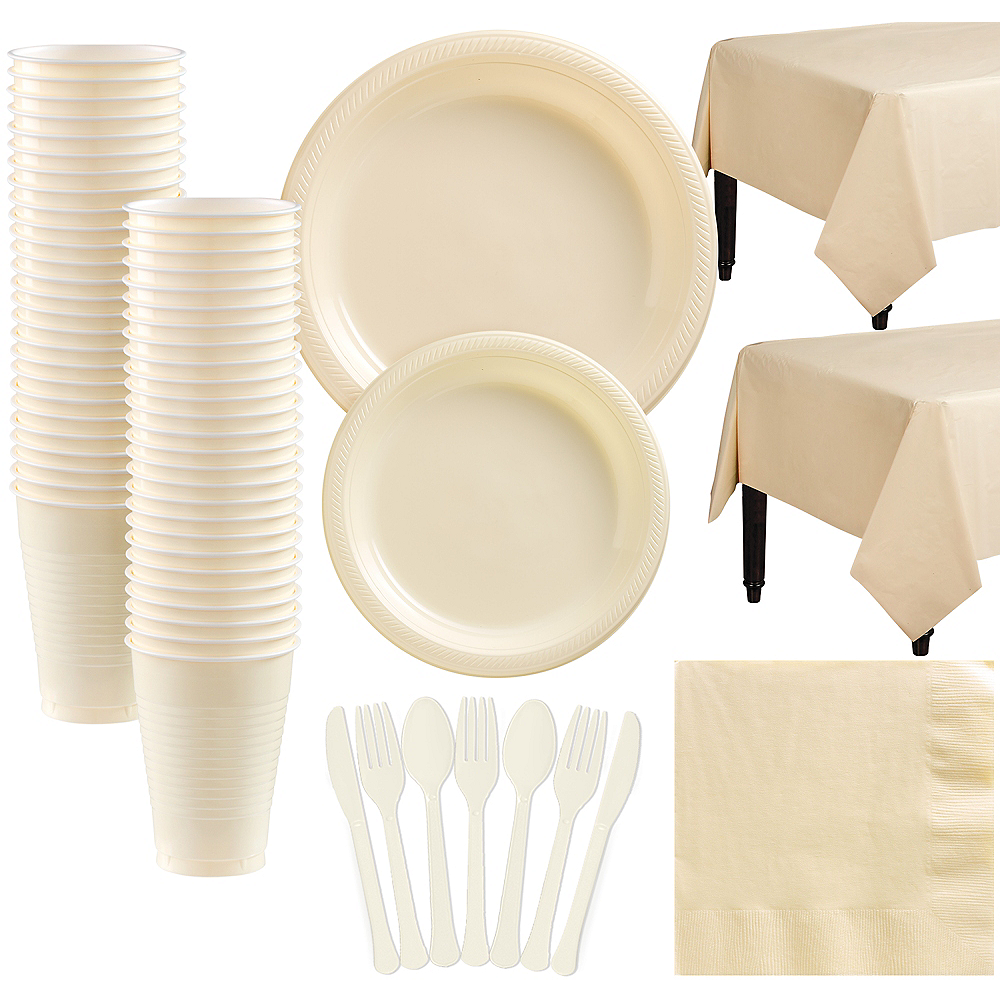 Vanilla Plastic Tableware Kit for 50 Guests Image #1