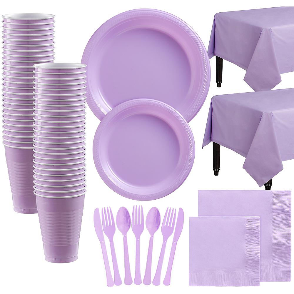 Lavender Plastic Tableware Kit for 100 Guests Image #1
