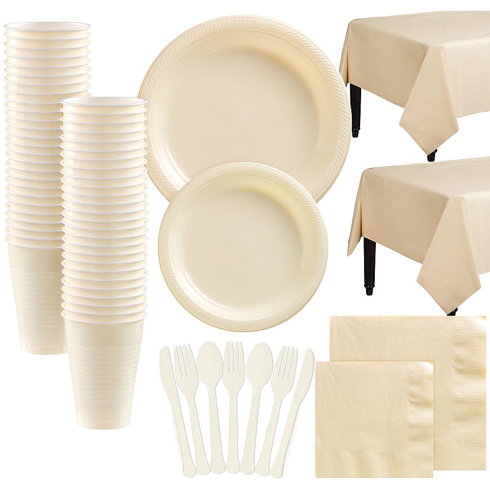 Vanilla Plastic Tableware Kit for 100 Guests Image #1