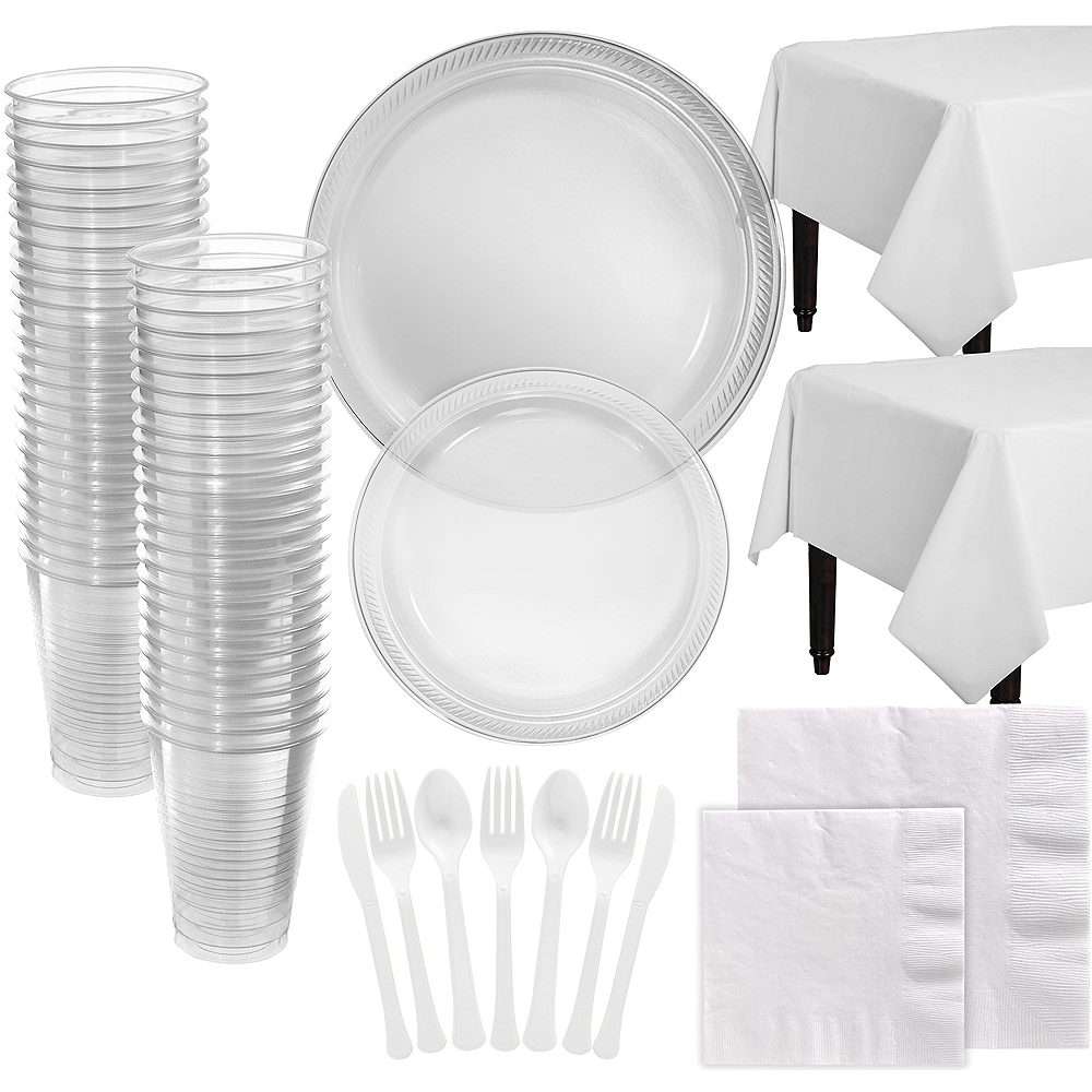 Clear Plastic Tableware Kit for 100 Guests Image #1