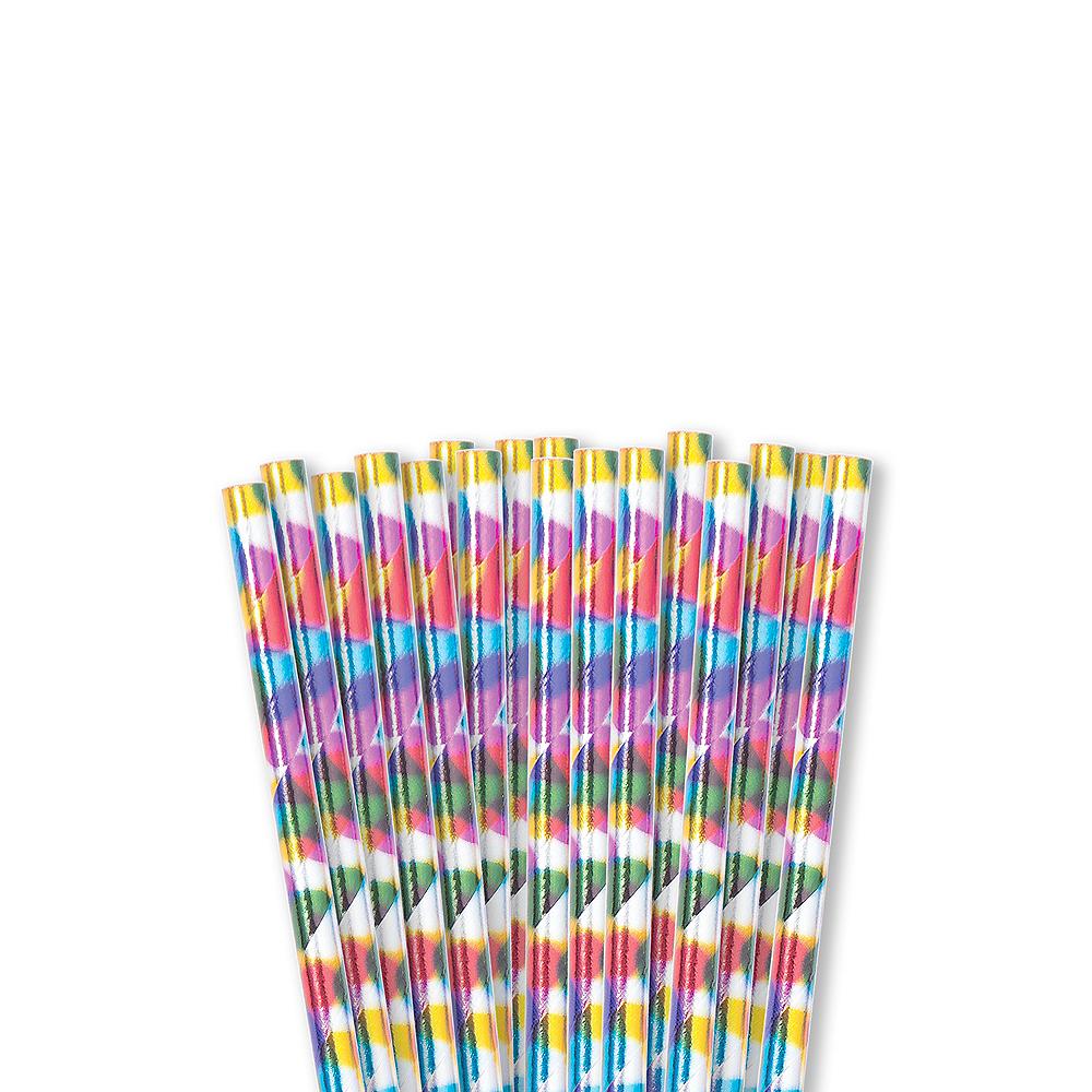 Metallic Rainbow Paper Straws 24ct Image #1